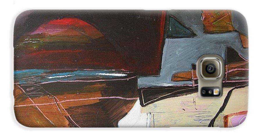 Abstract Atlantic Newfoundland Landscape Seascape Ocean Acrylic Paper Dusk Bonavista Canvas Galaxy S6 Case featuring the painting Bonavista At Dusk by Seon-Jeong Kim