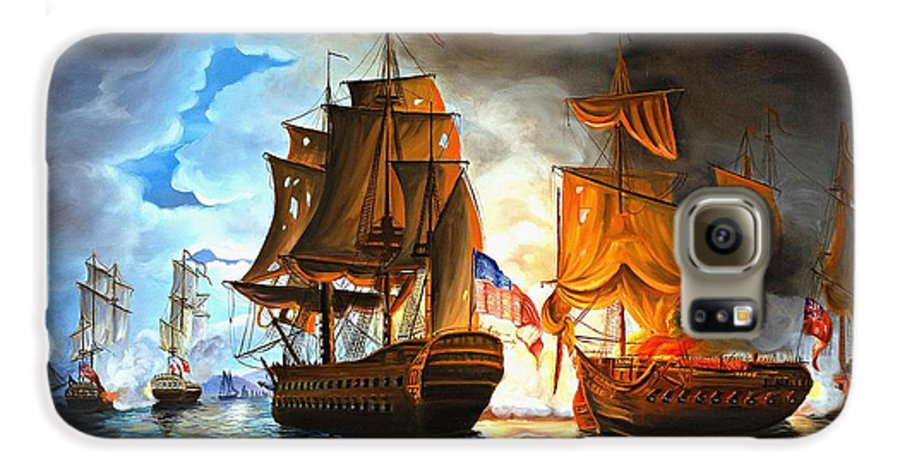 Naval Battle Galaxy S6 Case featuring the painting Bonhomme Richard Engaging The Serapis In Battle by Paul Walsh