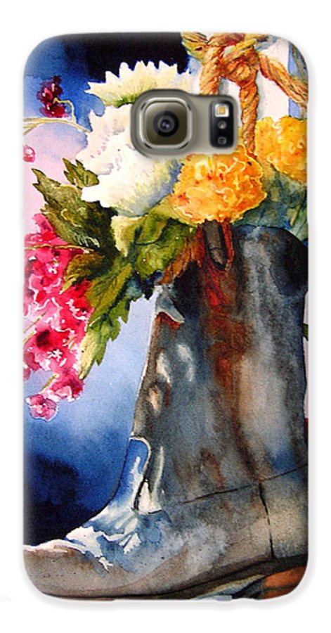 Cowboy Galaxy S6 Case featuring the painting Boot Bouquet by Karen Stark