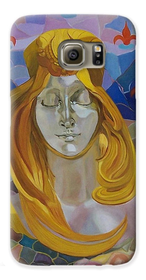 Figurative Galaxy S6 Case featuring the painting Born-after Mucha by Antoaneta Melnikova- Hillman