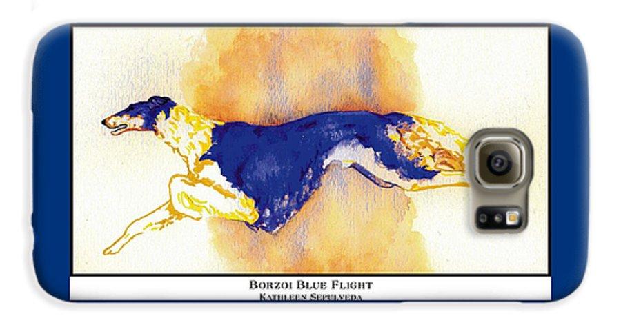 Borzoi Galaxy S6 Case featuring the digital art Borzoi Blue Flight by Kathleen Sepulveda