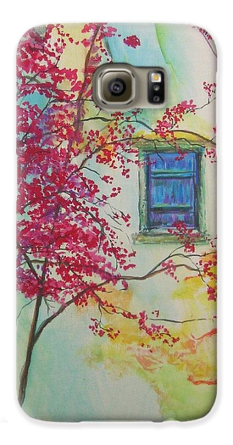 Bouganvilla Galaxy S6 Case featuring the painting Bouganvilla And Blue Shutter by Lizzy Forrester
