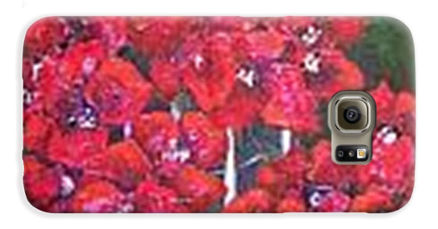 Galaxy S6 Case featuring the painting Bounganvillia On Fence by Carol P Kingsley