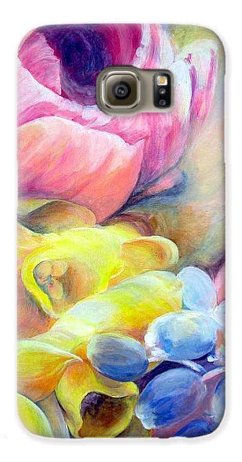 Flower Galaxy S6 Case featuring the painting Bouquet by Muriel Dolemieux