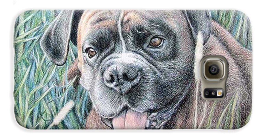 Dog Galaxy S6 Case featuring the drawing Boxer Yosi by Nicole Zeug