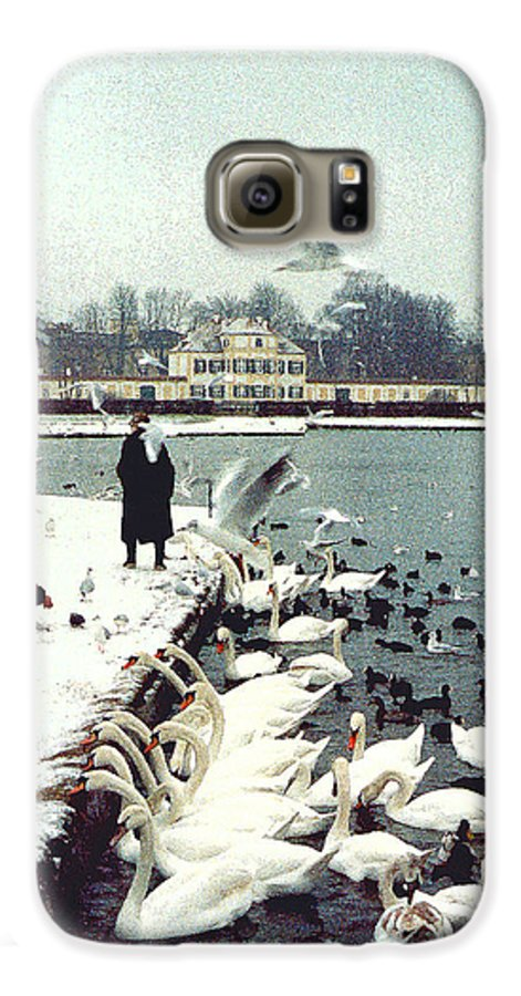 Swans Galaxy S6 Case featuring the photograph Boy Feeding Swans- Germany by Nancy Mueller