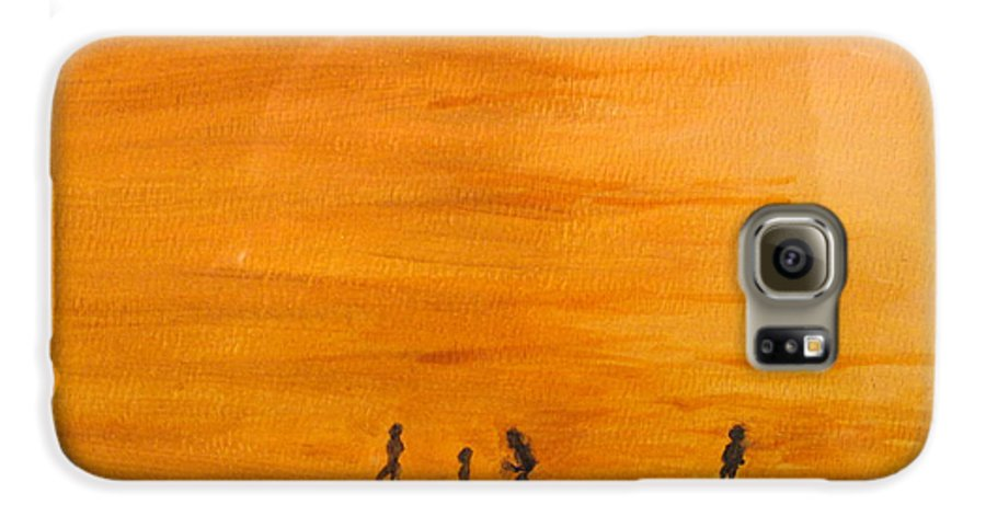 Boys Galaxy S6 Case featuring the painting Boys At Sunset by Ian MacDonald