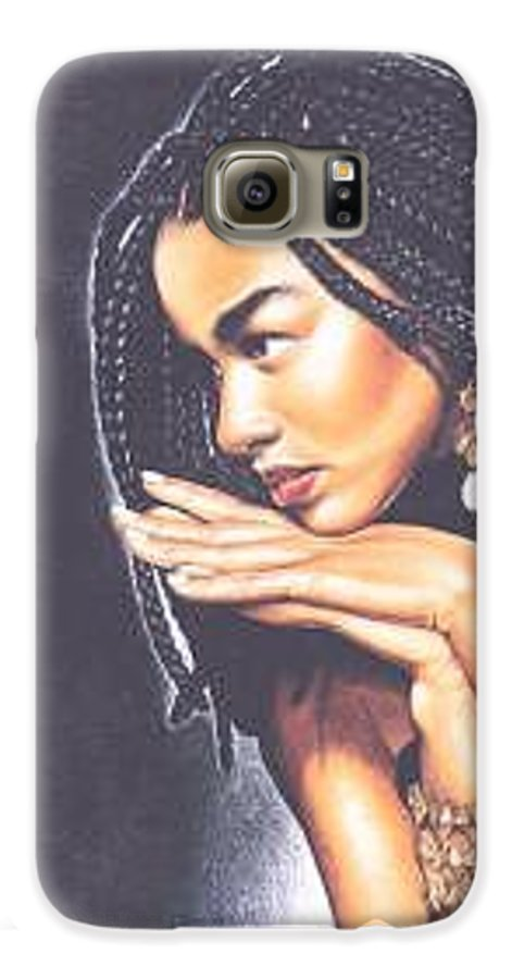 Woman W/folded Hands Galaxy S6 Case featuring the drawing Braided Beauty by Charlene Cooper