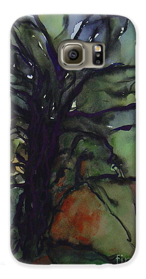 Tree Landscape Abstract Watercolor Original Blue Green Galaxy S6 Case featuring the painting Branching by Leila Atkinson