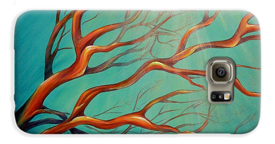 Coral Sea Ocean Underwater Beach Aquatic Reef Diving Contemporary Close-up Aquatica Series Galaxy S6 Case featuring the painting Branching Out by Dina Dargo