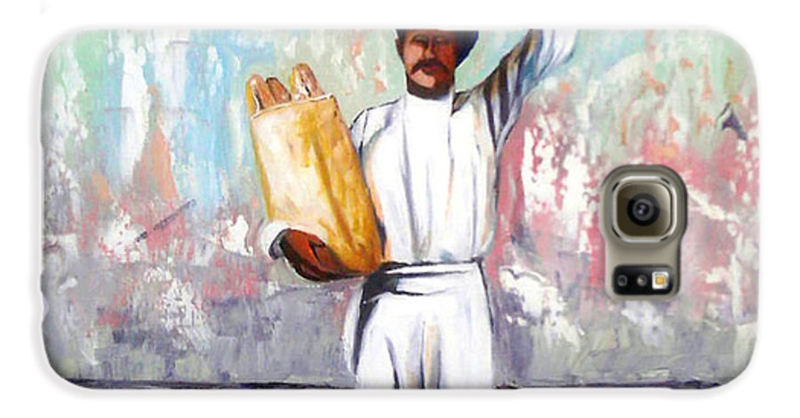 Bread Galaxy S6 Case featuring the painting Breadman by Jose Manuel Abraham