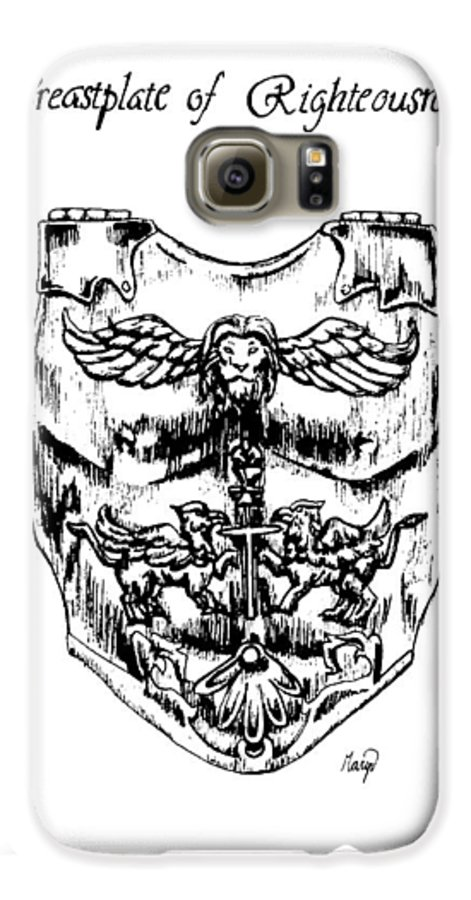 Breastplate Galaxy S6 Case featuring the drawing Breastplate Of Righteousness by Maryn Crawford