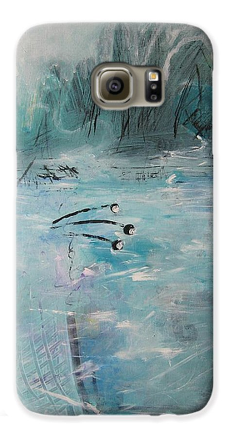 Abstract Paintings Galaxy S6 Case featuring the painting Brierly Beach by Seon-Jeong Kim