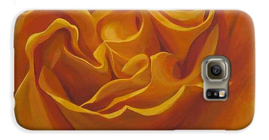 Yellow Rose In The Italian Countryside Galaxy S6 Case featuring the painting Bright As Yellow by Hunter Jay