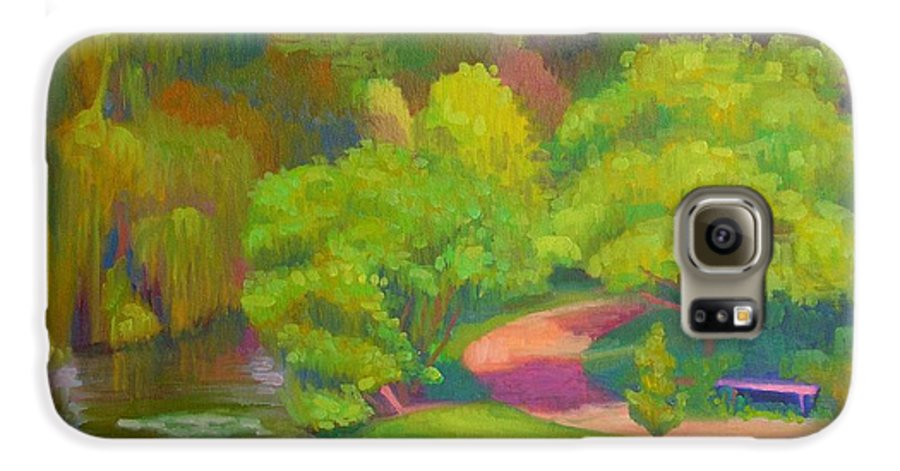 Landscape Galaxy S6 Case featuring the painting Bright Hazy Day Chicago Botanical Gardens by David Dozier