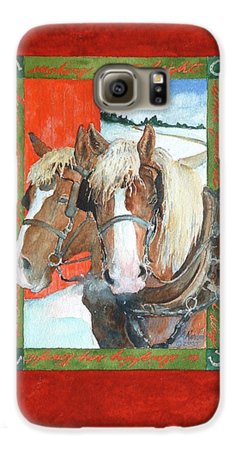 Horses Galaxy S6 Case featuring the painting Bright Spirits by Christie Michelsen