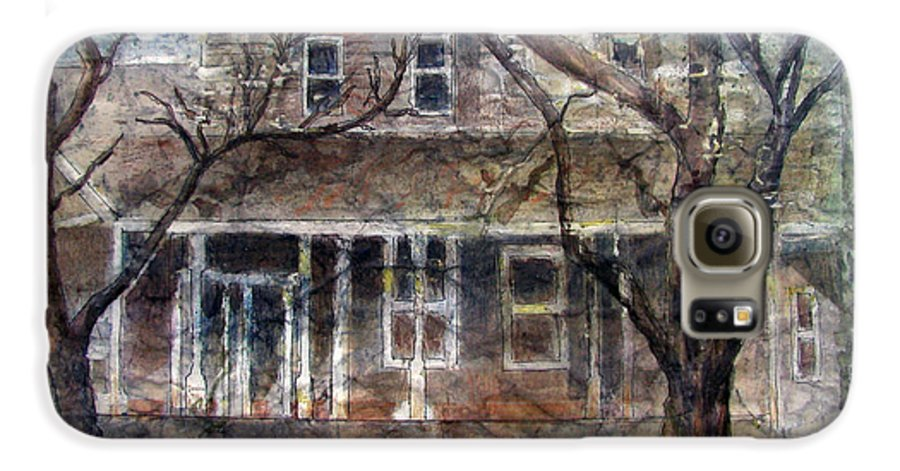 House Galaxy S6 Case featuring the mixed media Brown Batik House by Arline Wagner