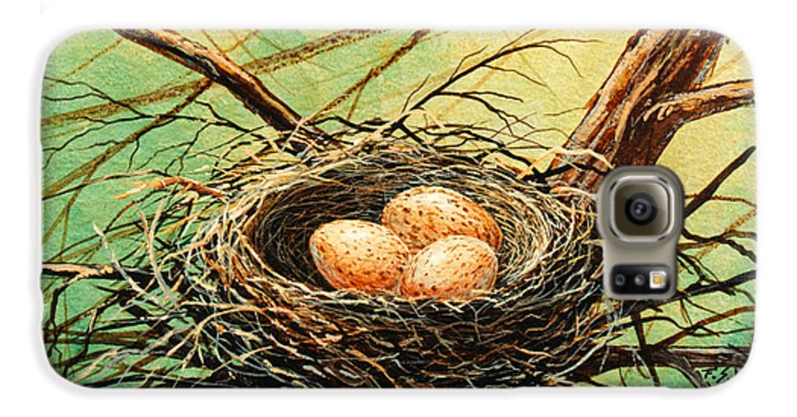 Wildlife Galaxy S6 Case featuring the painting Brown Speckled Eggs by Frank Wilson