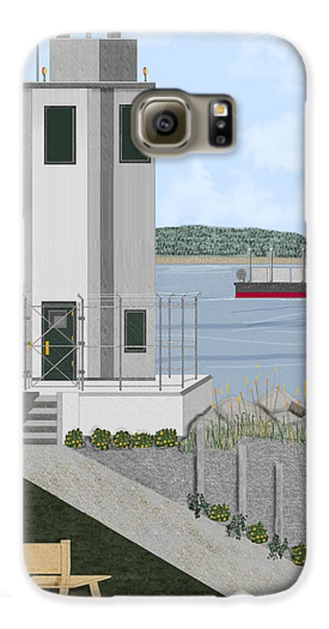 Lighthouse Galaxy S6 Case featuring the painting Browns Point Lighthouse On Commencement Bay by Anne Norskog