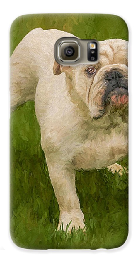 Dog Galaxy S6 Case featuring the painting Bruce The Bulldog by David Wagner