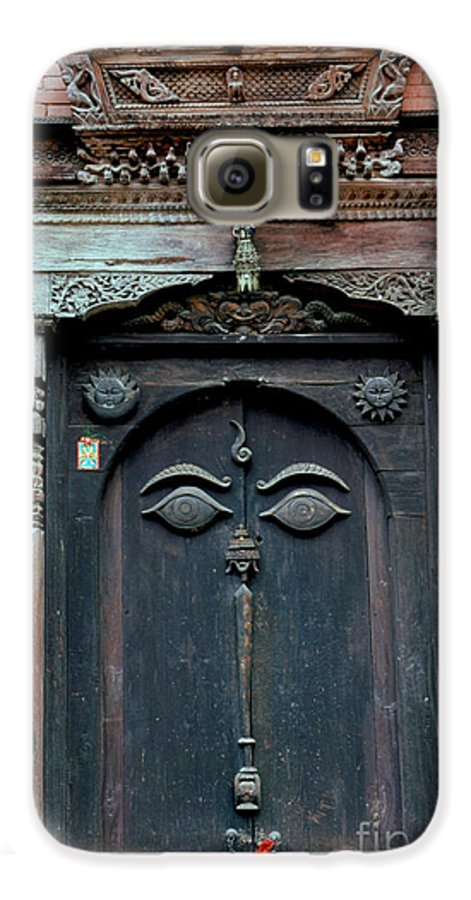 Nepal Galaxy S6 Case featuring the photograph Buddha's Eyes On Nepalese Wooden Door by Anna Lisa Yoder