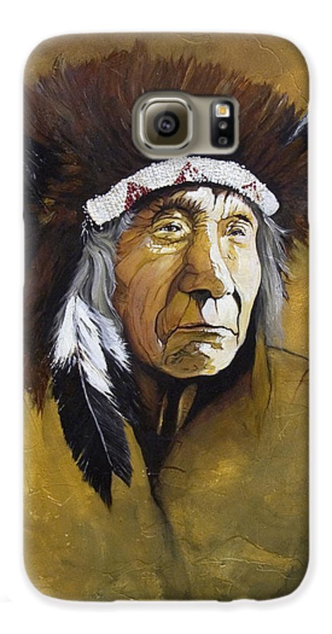 Shaman Galaxy S6 Case featuring the painting Buffalo Shaman by J W Baker