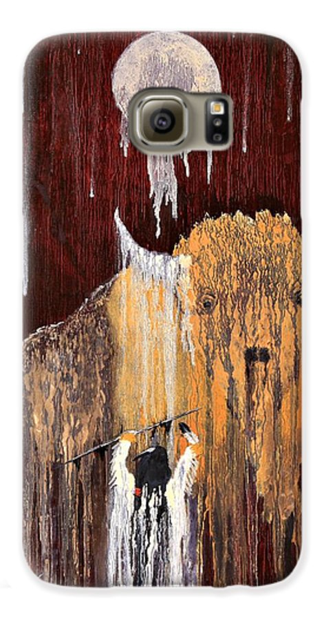 Native Art Galaxy S6 Case featuring the painting Buffalo Spirit by Patrick Trotter