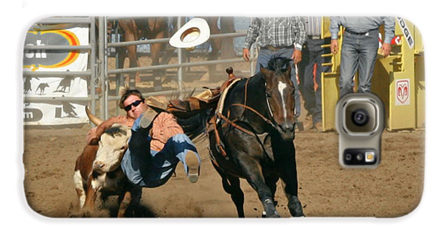 Cowboy Galaxy S6 Case featuring the photograph Bulldogging At The Rodeo by Christine Till