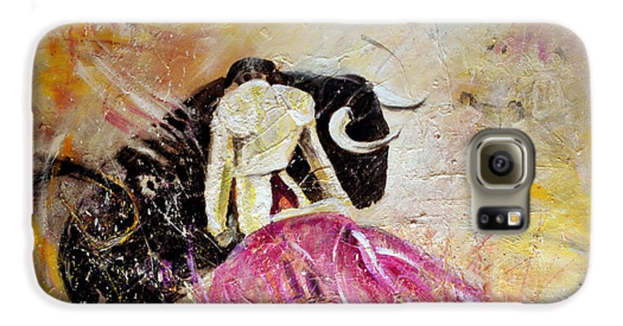 Animals Galaxy S6 Case featuring the painting Bullfight 74 by Miki De Goodaboom