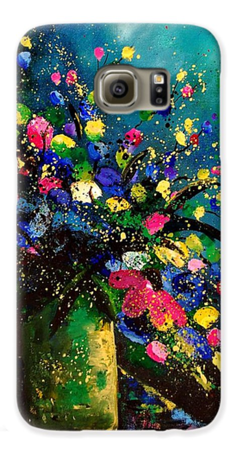 Poppies Galaxy S6 Case featuring the painting Bunch 45 by Pol Ledent