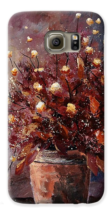 Poppies Galaxy S6 Case featuring the painting Bunch 56 by Pol Ledent