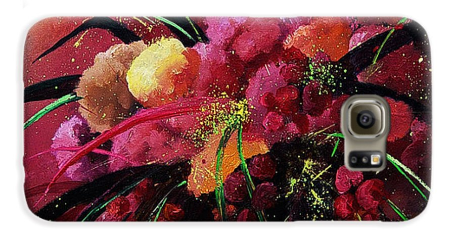 Flowers Galaxy S6 Case featuring the painting Bunch Of Red Flowers by Pol Ledent