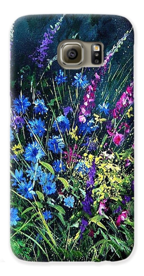 Poppies Galaxy S6 Case featuring the painting Bunch Of Wild Flowers by Pol Ledent