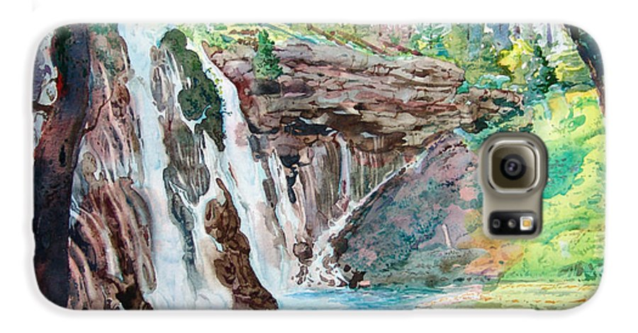 Watercolor Galaxy S6 Case featuring the painting Burney Falls by John Norman Stewart