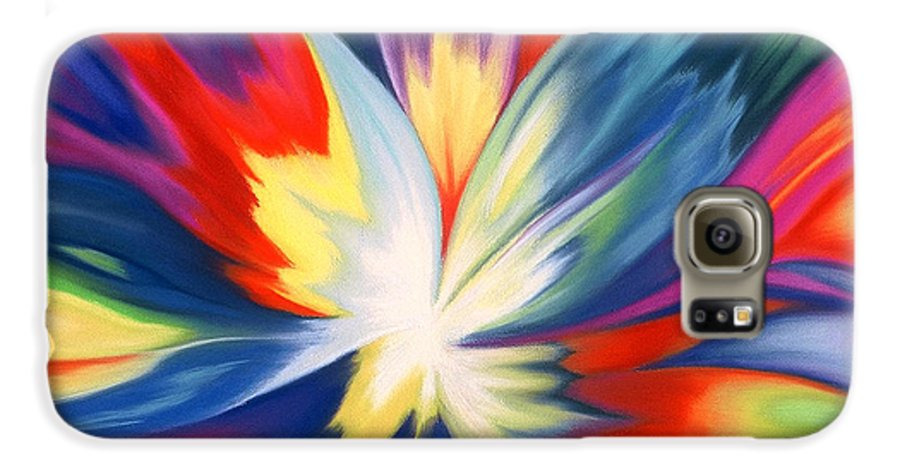 Abstract Galaxy S6 Case featuring the painting Burst Of Joy by Lucy Arnold