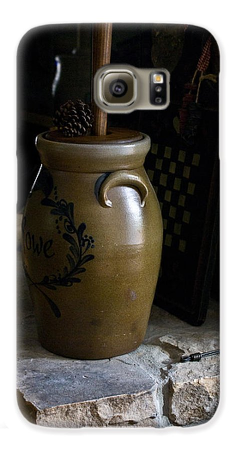 Butter Galaxy S6 Case featuring the photograph Butter Churn On Hearth Still Life by Douglas Barnett