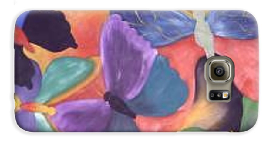 Butterfly Painting With Focus On Colors Galaxy S6 Case featuring the painting Butterfly Painting by M Brandl