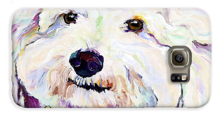 Bischon Galaxy S6 Case featuring the painting Buttons  by Pat Saunders-White