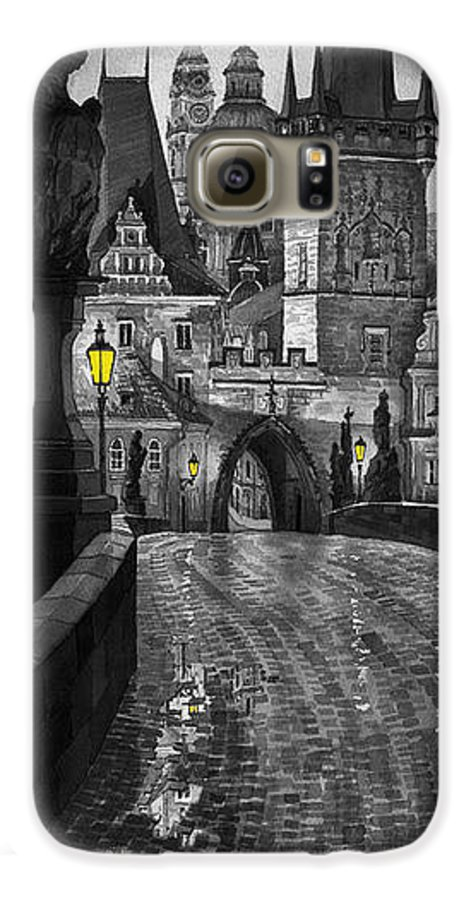 Prague Galaxy S6 Case featuring the painting Bw Prague Charles Bridge 03 by Yuriy Shevchuk
