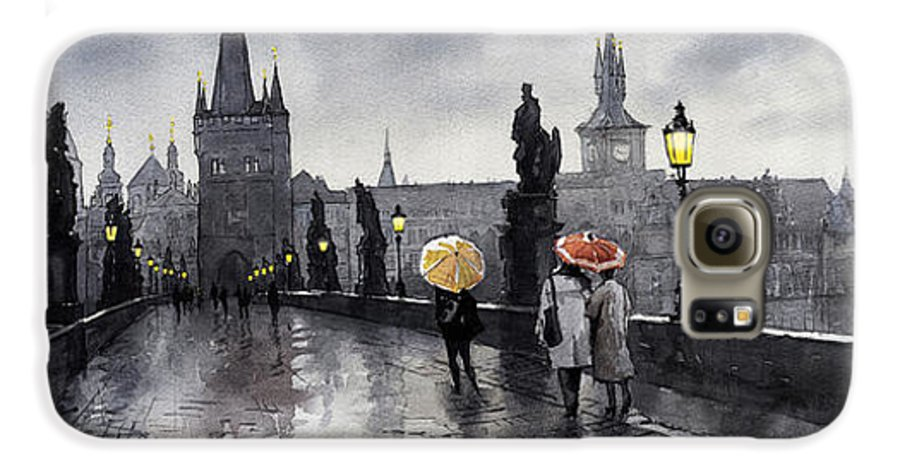 Prague Galaxy S6 Case featuring the painting Bw Prague Charles Bridge 05 by Yuriy Shevchuk