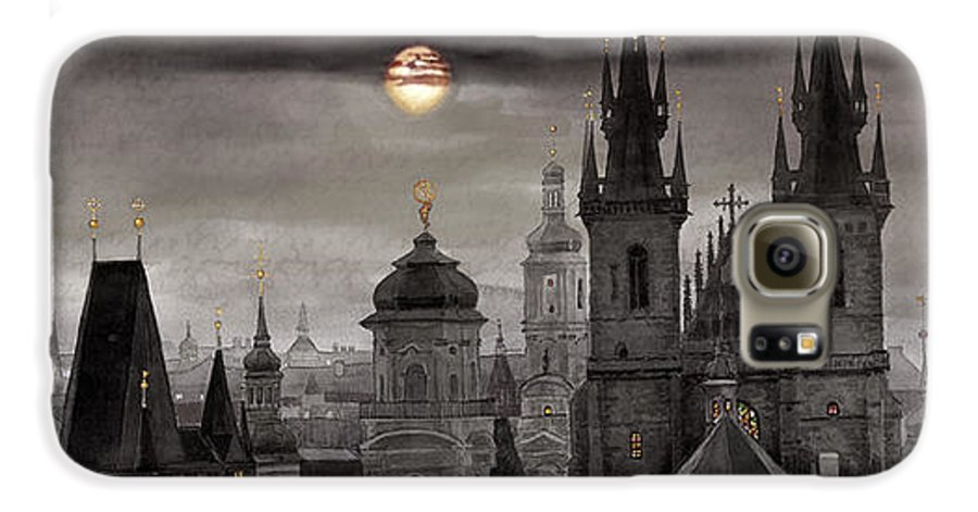 Cityscape Galaxy S6 Case featuring the painting Bw Prague City Of Hundres Spiers by Yuriy Shevchuk