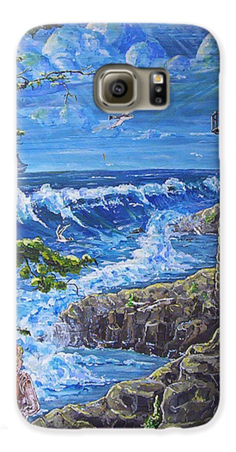 Seascape Galaxy S6 Case featuring the painting By The Sea by Phyllis Mae Richardson Fisher
