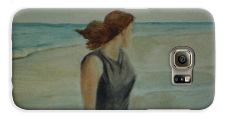 Ocean Galaxy S6 Case featuring the painting By The Sea by Sheila Mashaw