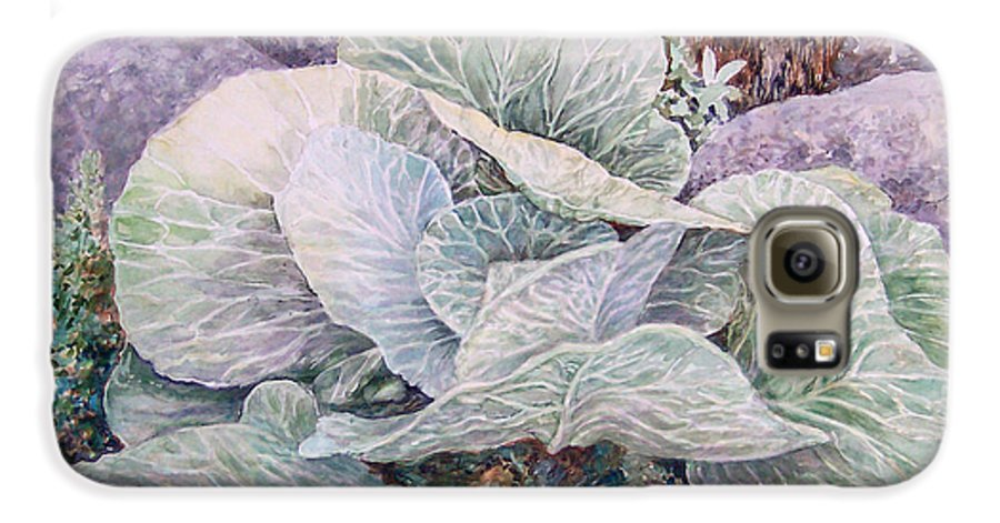 Leaves Galaxy S6 Case featuring the painting Cabbage Head by Valerie Meotti