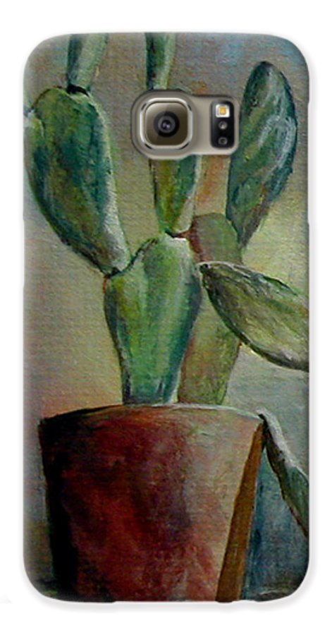 Flower Galaxy S6 Case featuring the painting Cactus 1 by Muriel Dolemieux