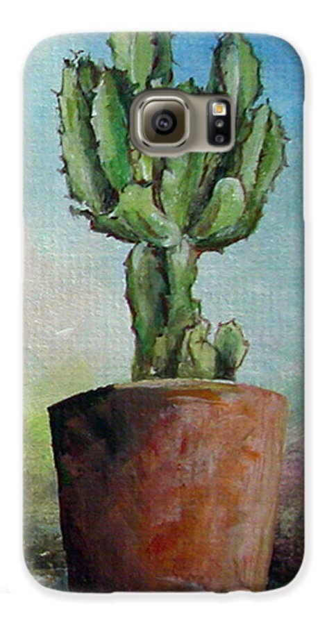 Flower Galaxy S6 Case featuring the painting Cactus 3 by Muriel Dolemieux