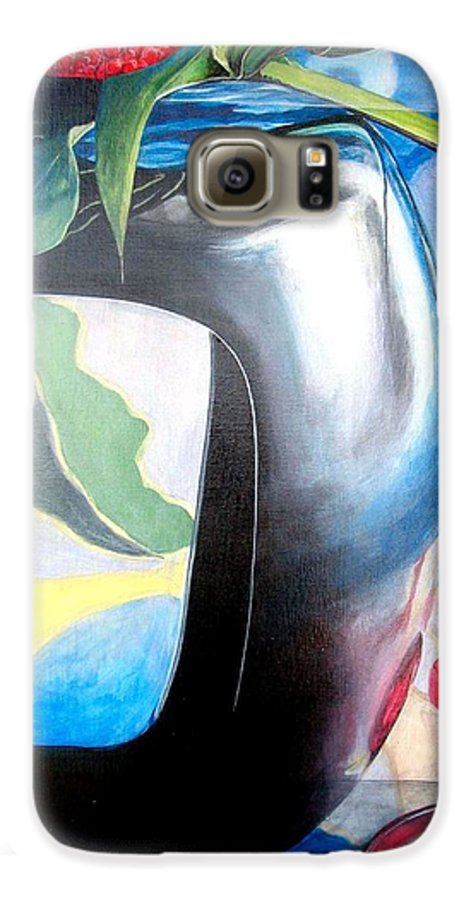 Nature-morte Galaxy S6 Case featuring the painting Cadre by Muriel Dolemieux