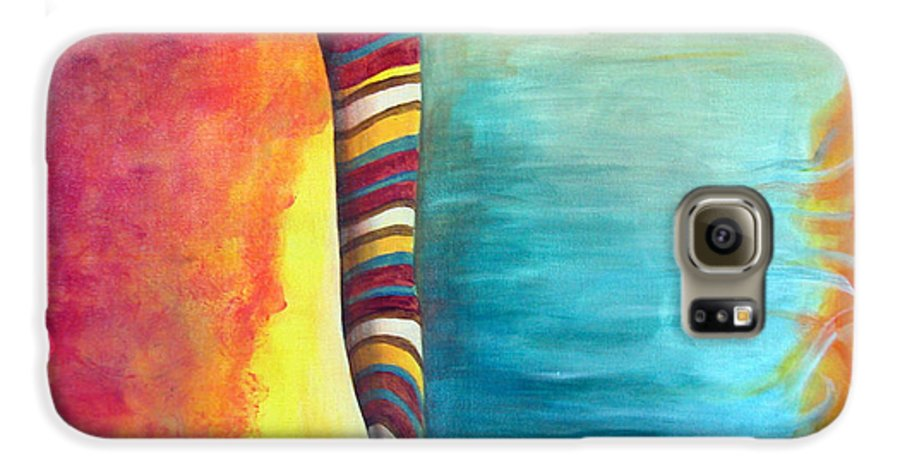 Abstract Galaxy S6 Case featuring the painting Cafe by Muriel Dolemieux