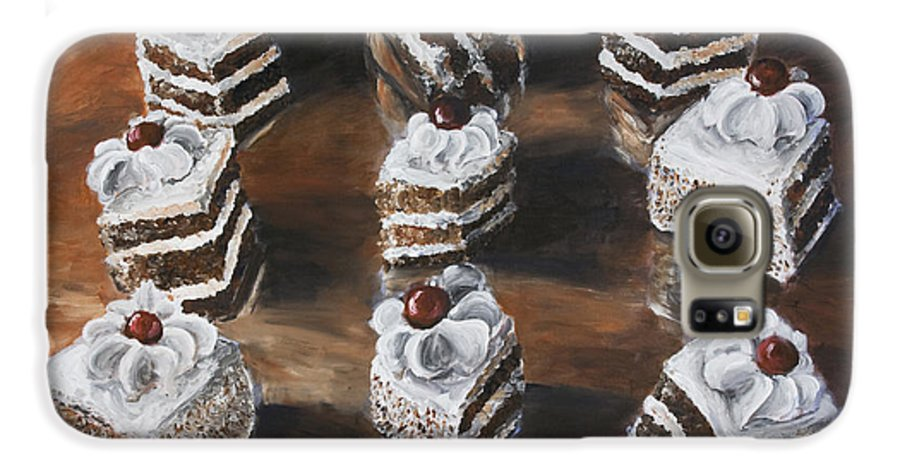 Cake Galaxy S6 Case featuring the painting Cake by Nik Helbig