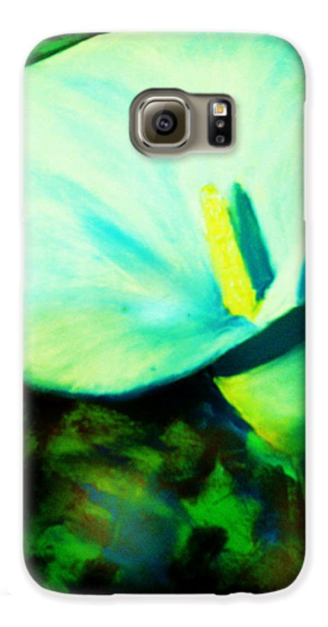 White Calla Lily Galaxy S6 Case featuring the painting Calla Lily by Melinda Etzold